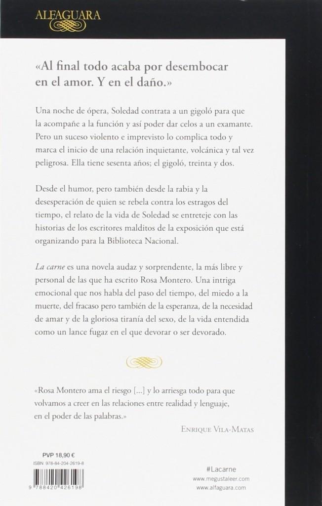 """""""La Carne""""- novela de Rosa Montero en 2016"""