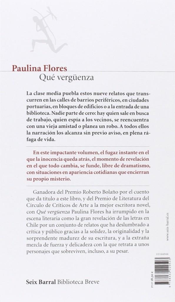 """Libro de relatos de Paulina Flores """"Qué vergüenza""""- 2016"""