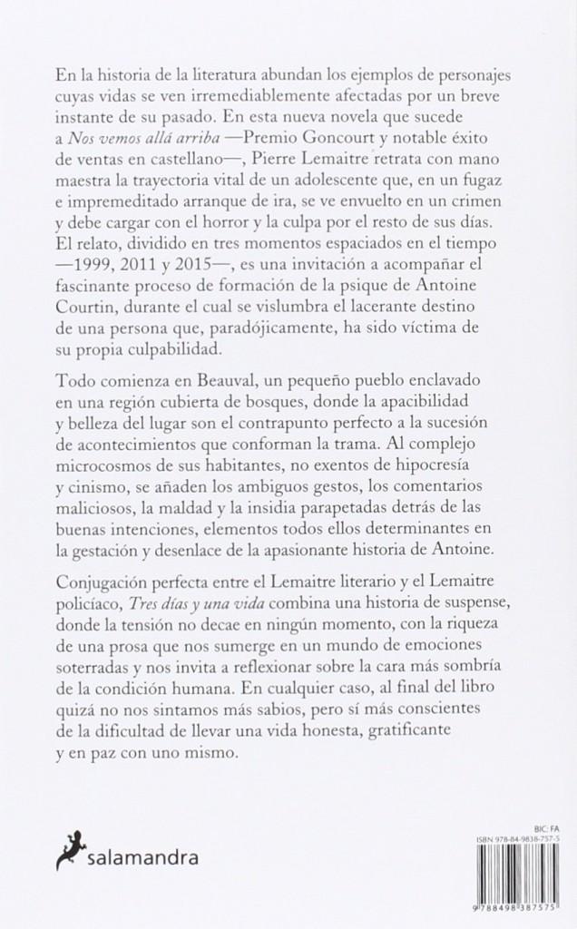 """Libro de suspense de Pierre Lemaitre 2016- """"Tres días y una vida"""""""