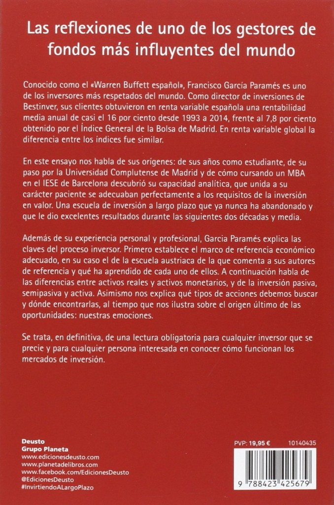 """Libro para inversores de Francisco García Paramés """"Invirtiendo a largo plazo"""""""