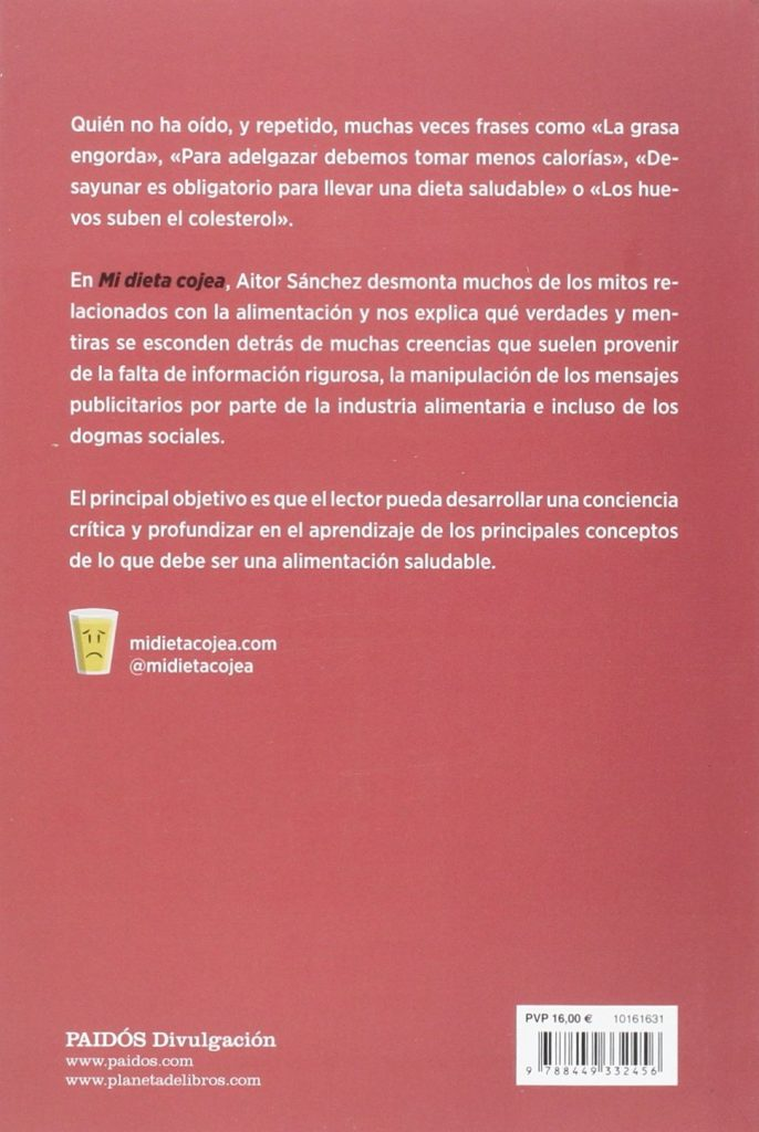 """Libro de alimentación, cocina saludable y nutrición """"Mi dieta cojea"""" de Aitor Sánchez García"""