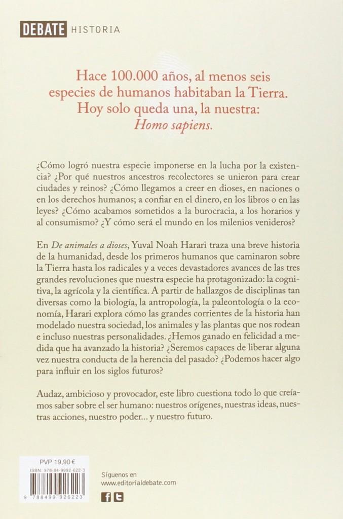 "Libro ""Sapiens. De animales a dioses""  una breve historia de la humanidad de Yuval Noah Harari"