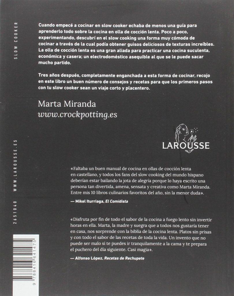 """Libro de recetas de cocina """"Slow Cooker. Recetas para olla de cocción lenta""""- Marta Miranda"""