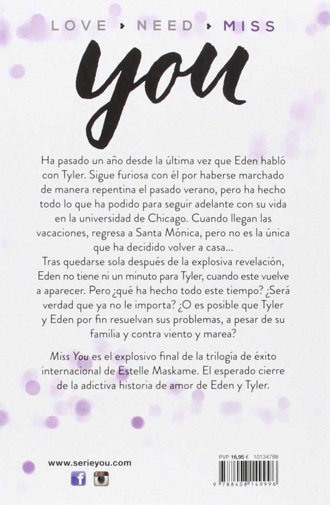 """Libro de amor juvenil de la trilogía de éxito internacional de Estelle Maskame """"Miss You"""""""