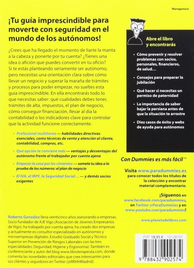 """Libro para emprendedores """"Autónomo para Dummies"""" de Roberto González Fontenla"""
