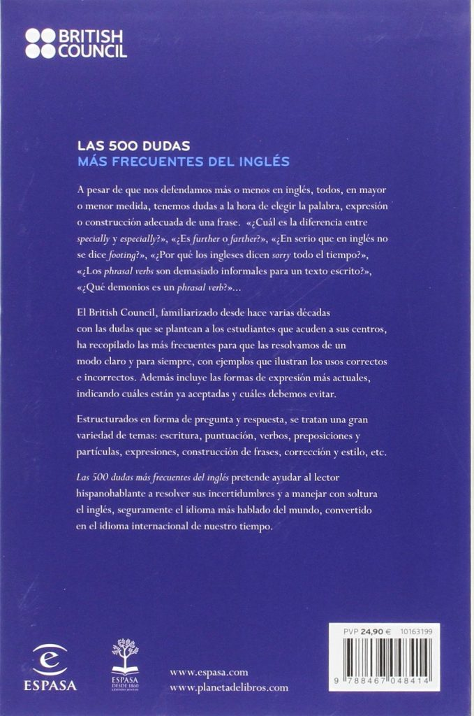 """Libro de British Council para aprender inglés """"Las 500 dudas más frecuentes del inglés"""""""