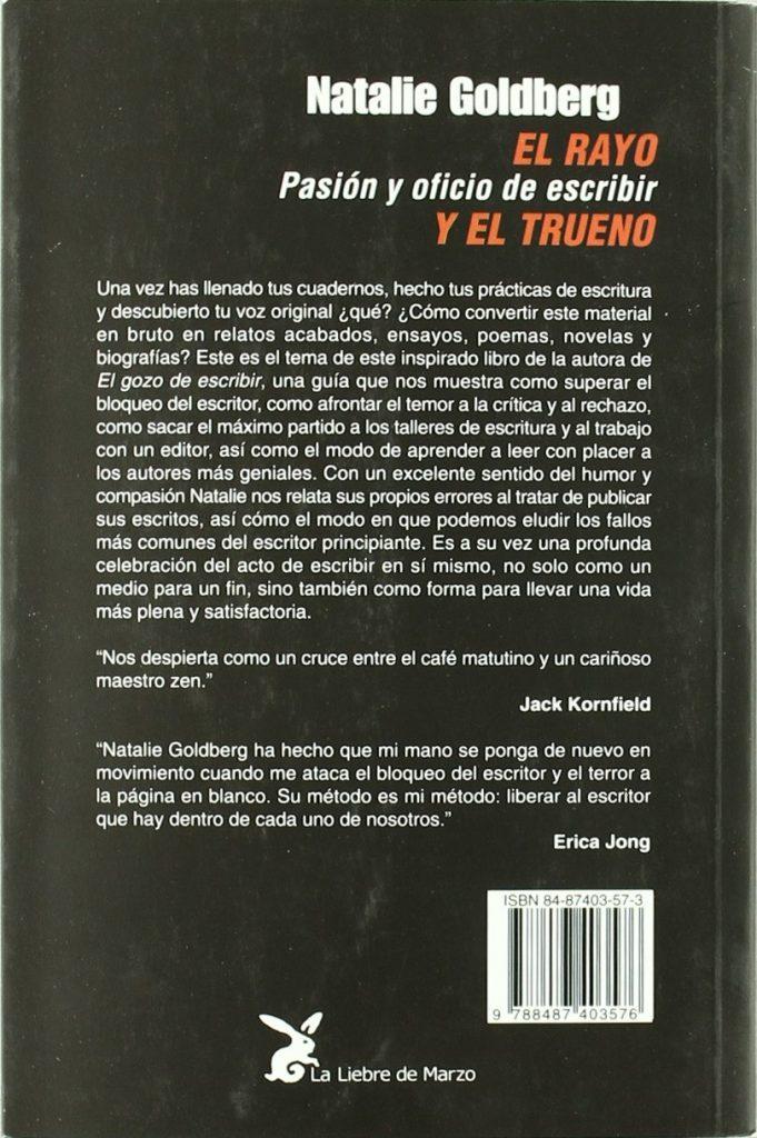 """Libro para escritores de Natalie Goldberg """"El rayo y el trueno. Pasión y oficio de escribir"""""""