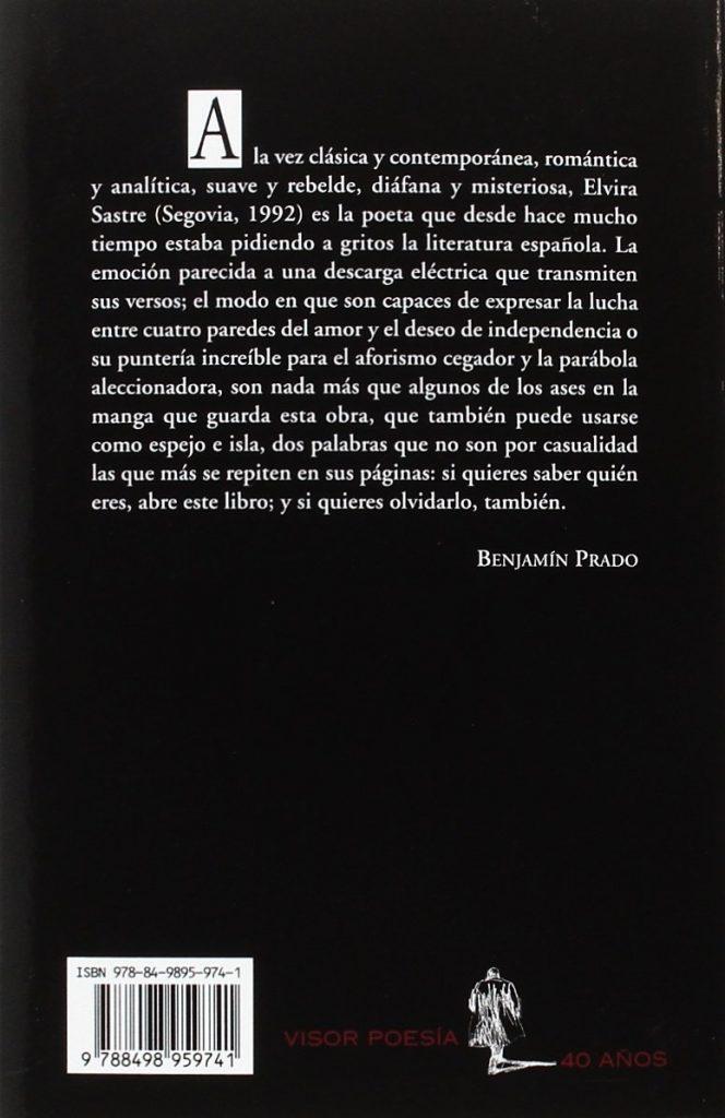 """Libro de poesía de Elvira Sastre """"La soledad de un cuerpo acostumbrado a la herida"""""""