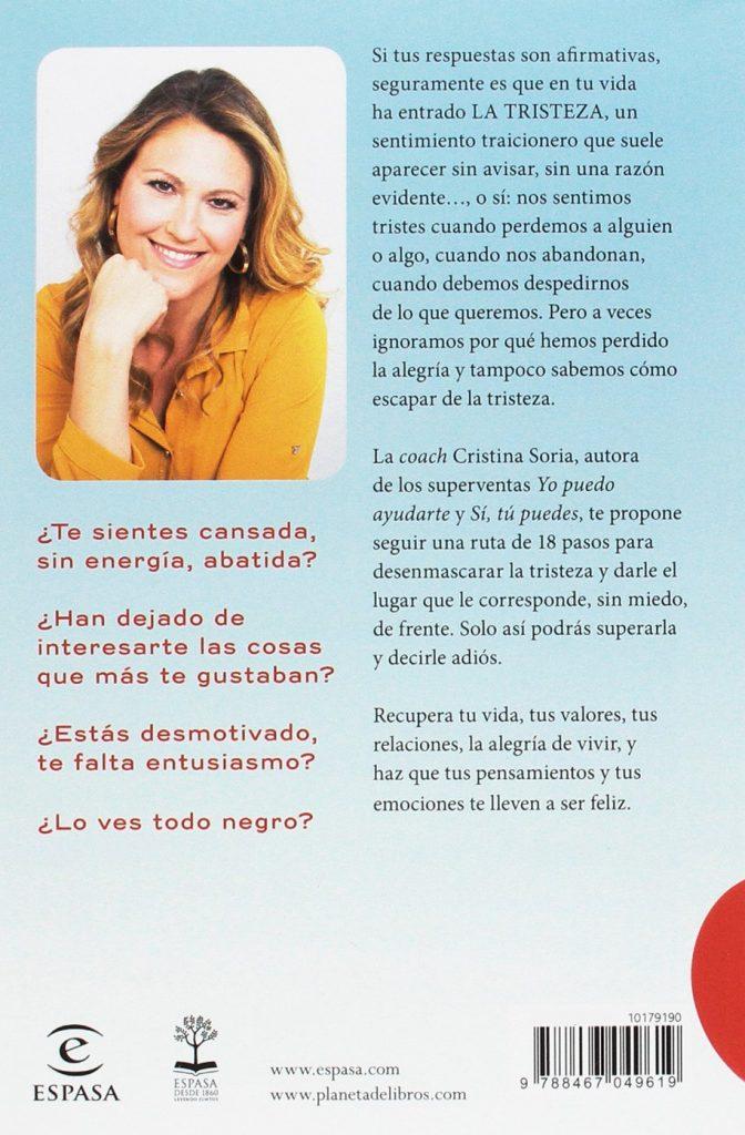 """Libro de autoayuda y crecimiento personal escrito por la televisiva Cristina Soria """"Adiós, tristeza: 18 pasos para recuperar la alegría"""""""